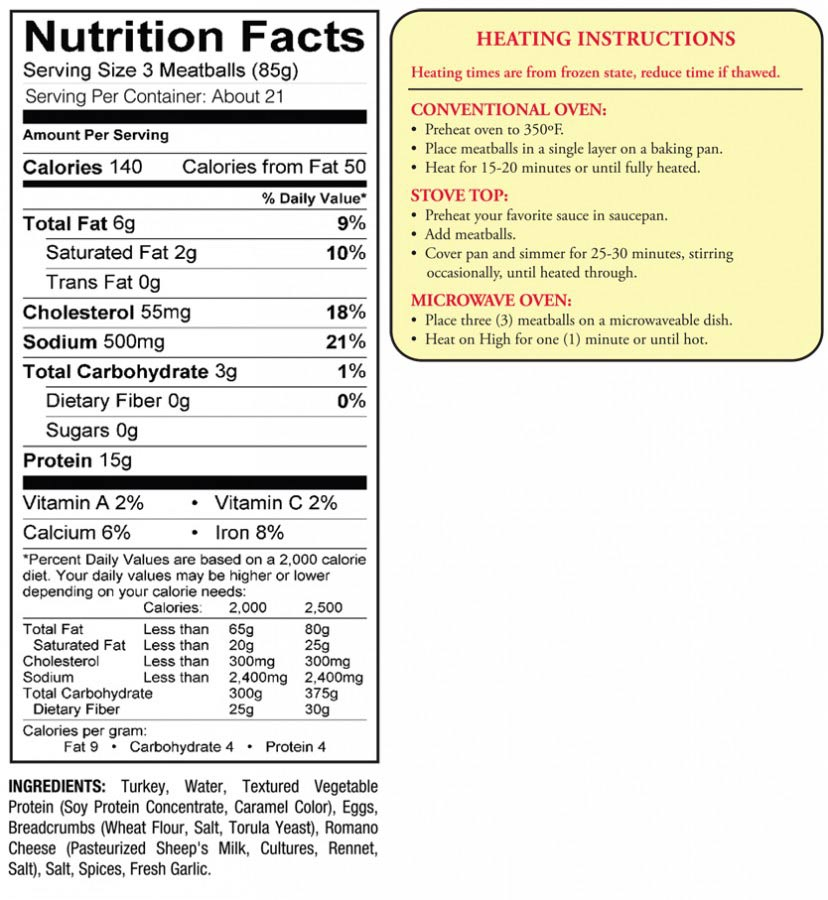 nutritional information and cooking instructions