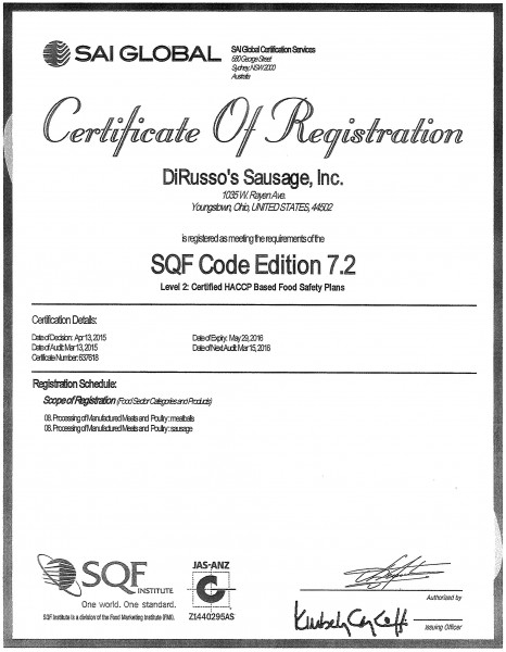 sai-global-certificate-dirusso-sausage-inc-food safety